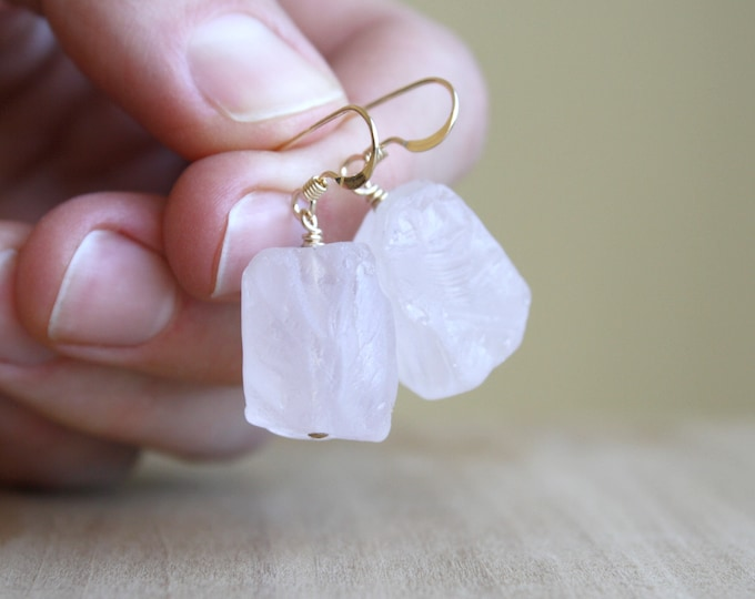 Featured listing image: Raw Rose Quartz Earrings in 14k Gold Fill for Comfort and Love in Abundance