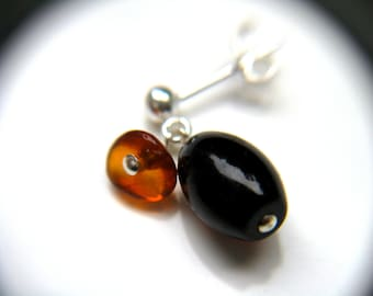 Amber Stud Earrings in Sterling Silver . Healing Stones for Courage and Balance