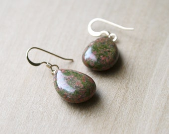Unakite Earrings in 14k Gold Fill for Emotional Resilience and Balance