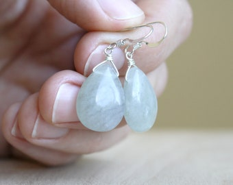 Green Fluorite Earrings in Sterling Silver for Mental Clarity and Cleansing