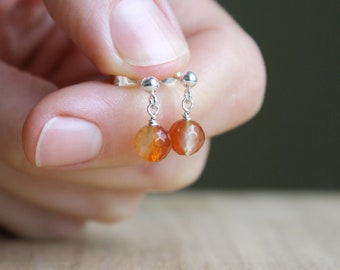 Natural Carnelian Studs for Motivation and Courage NEW