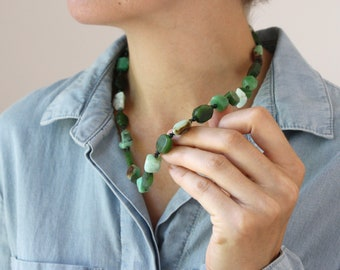 Nephrite Jade, Chrysoprase, and Bloodstone Necklace for Prosperity and Abundance NEW