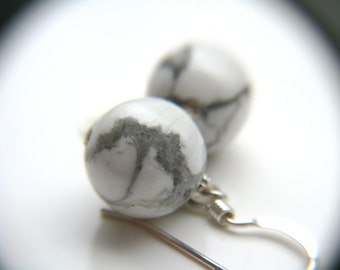 White Howlite Earrings . Calming Jewelry
