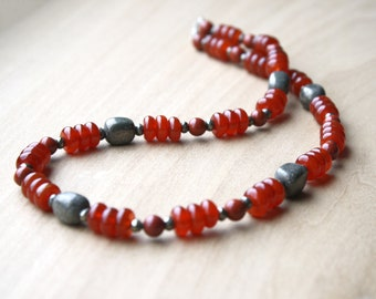 Carnelian, Red Jasper, and Pyrite Necklace for Courage and Success