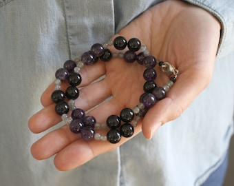 Amethyst, Onyx, and Labradorite Necklace for Anxiety Relief and Protection