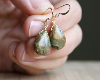 Rhyolite Earrings in 14k Gold Fill for Peace of Mind and Being Present