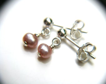 Pink Freshwater Pearl Studs for Balance