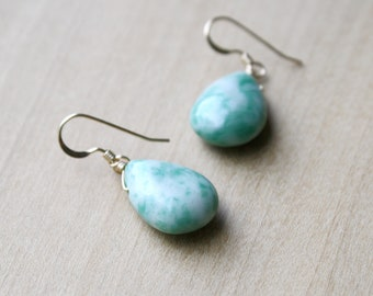 Tree Agate Earrings in 14k Gold Fill for Abundance and Prosperity