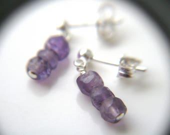 Genuine Amethyst Earrings . Minimalist Jewelry