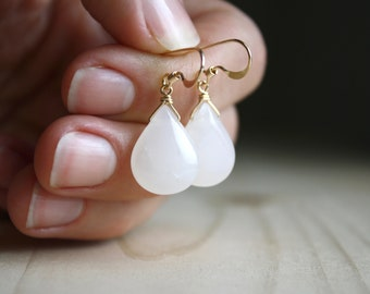 White Quartz Earrings in 14k Gold Fill for Energy and Balance