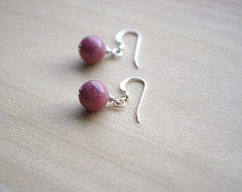 Rhodonite Earrings for Emotional Balance and Self Love NEW