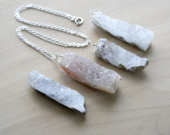 Raw Quartz Geode Necklace for Courage and Calm