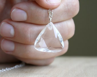 Clear Quartz Triangle Necklace for Energy and Healing NEW