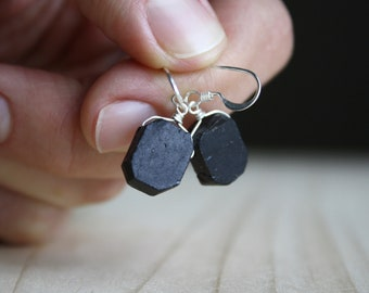 Black Tourmaline Earrings Raw . Protection Earrings . Black Stone Earrings Dangle
