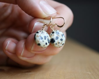 Dalmatian Jasper Earrings for Grounding and Strength