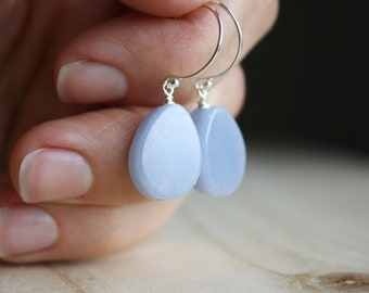 Angelite Earrings in Sterling Silver for Calm