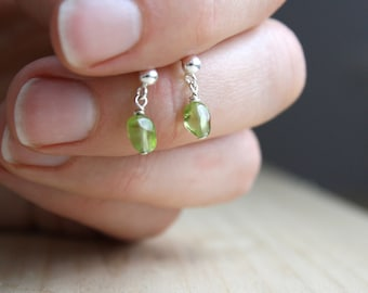 Green Peridot Earrings Studs . August Birthstone Jewelry