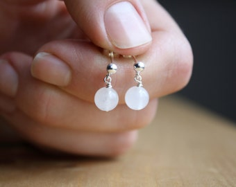 White Quartz Studs in Sterling Silver for Harmony and Calm