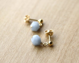 Angelite Studs for Clear Communication and Soothing Vibrations