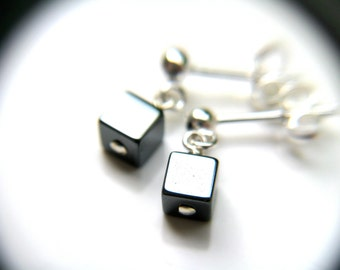 Hematite Studs in Sterling Silver . Anti Anxiety Jewelry
