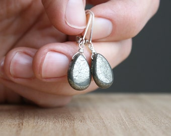 Polished Pyrite Earrings for Protection and Well-being