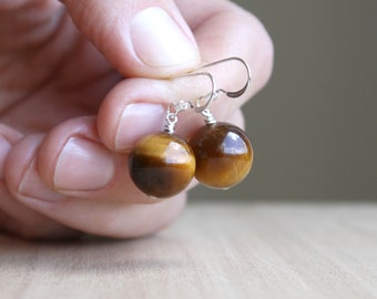 Tiger Eye Earrings for Balance and Meditation NEW