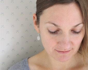 Raw Moonstone Earrings in Sterling Silver for New Beginnings