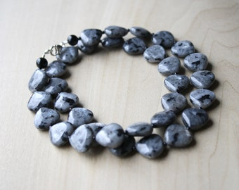 Black Moonstone Larvikite Necklace with Black Onyx for Grounding and Protection