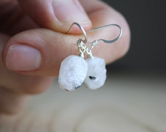 Raw Moonstone Earrings in Sterling Silver for New Beginnings