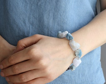 Amethyst, Kyanite, Chalcedony, and Fluorite Raw Stone Bracelet for Calm