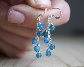 Natural Apatite Earrings in Sterling Silver for Motivation