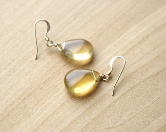 Yellow Fluorite Earrings in 14k Gold Fill for Structure and Clarity