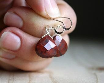Red Jasper Earrings in Sterling Silver for Grounding and Strength