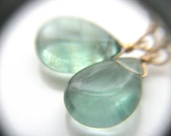 Green Fluorite Earrings in 14k Gold Fill for Clarity and Focus