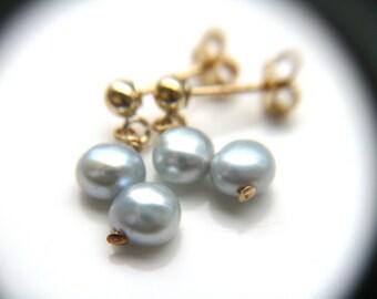 Blue Freshwater Pearl Gold Stud Earrings