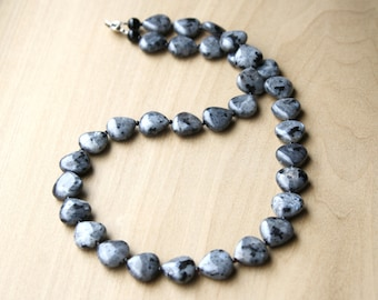Black Moonstone Necklace with Black Onyx for Grounding and Protection