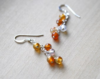 Natural Carnelian Earrings in Sterling Silver for Motivation and Courage