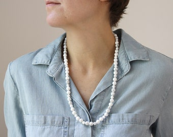White Howlite Necklace for Anxiety Relief and Inspiration