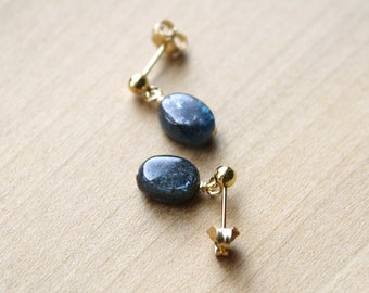Kyanite Studs in 14k Gold Fill for Meditation and Calm