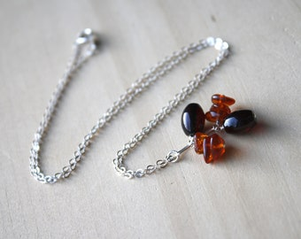 Genuine Amber Necklace in Sterling Silver for Safe Travels and Protection