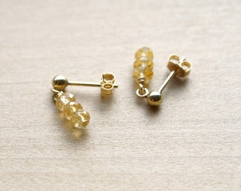 Citrine Stud Earrings for Imagination and Positivity