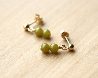Jade Studs in 14k Gold Fill for Harmony and Good Luck NEW