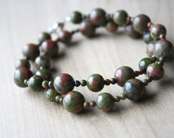 Natural Unakite Necklace for Positivity and Emotional Resilience
