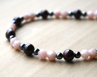 Natural Garnet, Pink Opal, and Hematite Necklace for Creativity and Hope