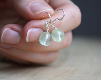 Prehnite Earrings Silver Dangle