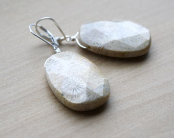 Fossilized Coral Earrings for Balance and Creativity NEW