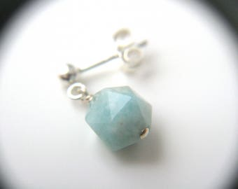 Amazonite Earrings Studs in Sterling Silver for Anxiety Relief