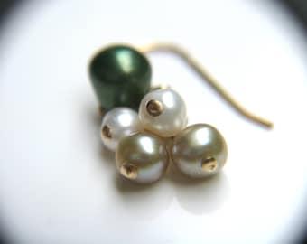 Green Pearl Earrings in 14k Gold Fill . June Birthstone Gift