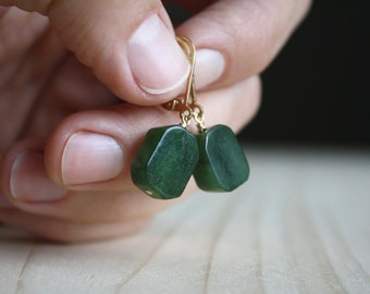 Canadian Jade Earrings in 14k Gold Fill for Harmony and Good Luck NEW