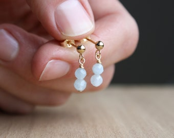 Natural Aquamarine Studs in 14k Gold Fill for Courage and Calm NEW